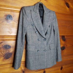 Zara Woman Wool Houndstooth Plaid Blazer Small